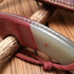 Elmax Steel (62Rc), Sand Ghost G10 and Red Linen Micarta with raised handle spine