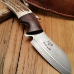 CPM-3V Steel, Acid Etched (61Rc), Montana Elk Antler and Rosewood with raised handle spine